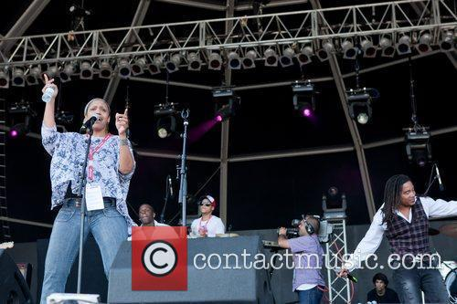 NuSoulFamily and Julie McKnight performing at Rock In...