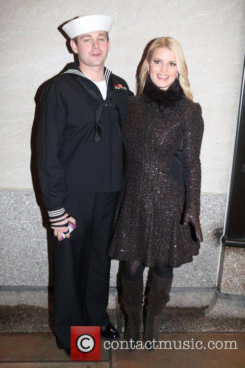 John Britt and Jessica Simpson at the Rockefeller...