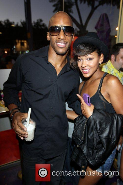 Meagan Good and guest Romeo celebrates his 21st...