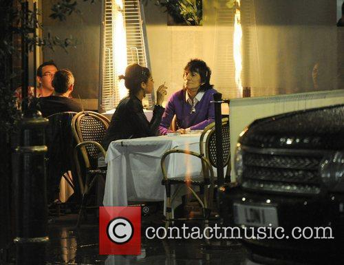 Ronnie Wood, His Girlfriend Ana Araujo Pop Outside For A Cigarette Break and During A Meal Together At A Restaurant In Mayfair. 7