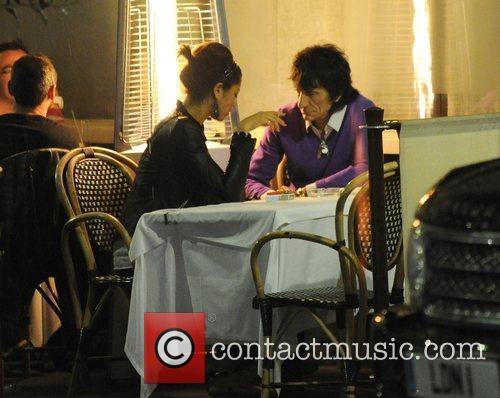 Ronnie Wood, His Girlfriend Ana Araujo Pop Outside For A Cigarette Break and During A Meal Together At A Restaurant In Mayfair. 8
