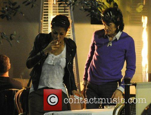 Ronnie Wood, His Girlfriend Ana Araujo Pop Outside For A Cigarette Break and During A Meal Together At A Restaurant In Mayfair. 3