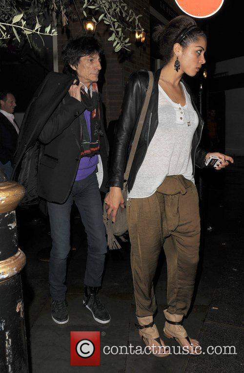 Ronnie Wood, his girlfriend Ana Araujo leaving a restaurant in Mayfair and having enjoyed dinner there together 11