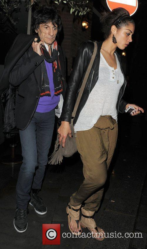 Ronnie Wood, his girlfriend Ana Araujo leaving a restaurant in Mayfair and having enjoyed dinner there together 9