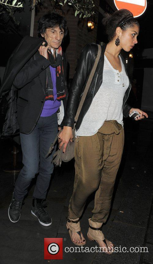 Ronnie Wood, his girlfriend Ana Araujo leaving a restaurant in Mayfair and having enjoyed dinner there together 7
