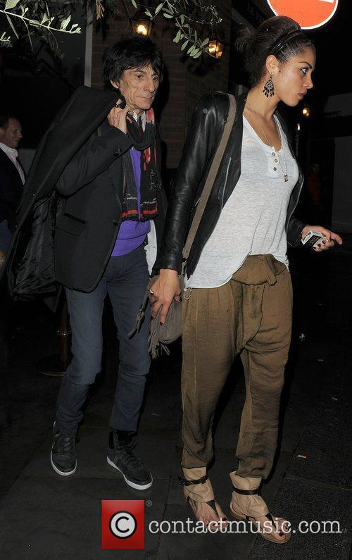 Ronnie Wood, his girlfriend Ana Araujo leaving a restaurant in Mayfair and having enjoyed dinner there together 8