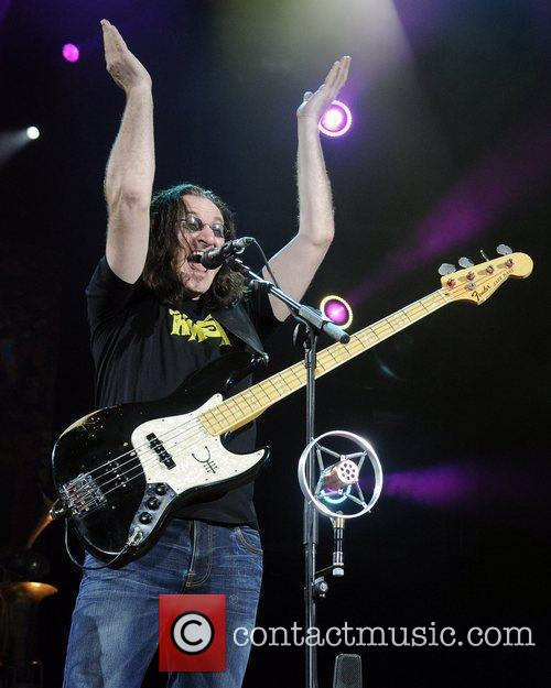 Canadian rock band Rush performs live at the...