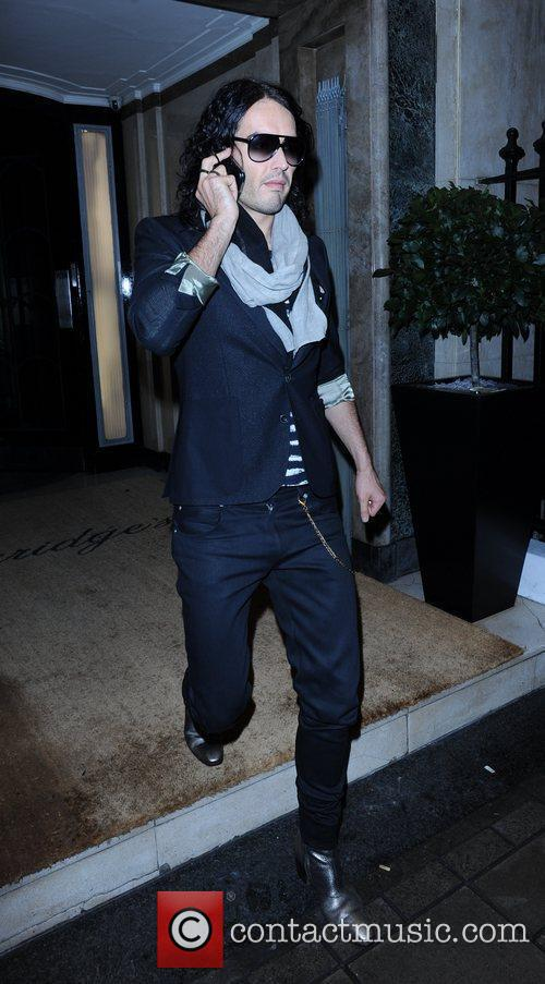 Russell Brand seen leaving Claridges Hotel prior to...