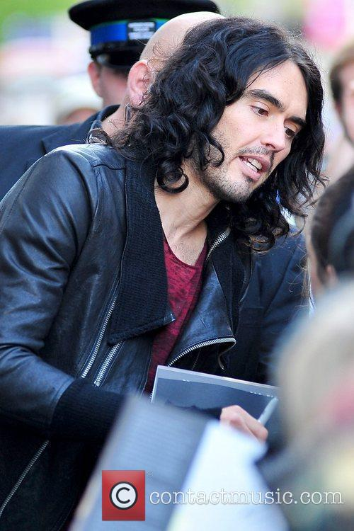 Russell Brand  meeting fans outside Waterstones, where...
