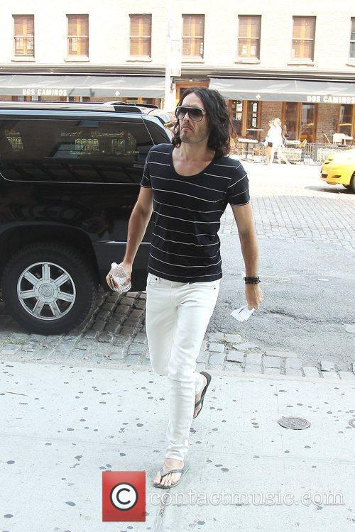 Russell Brand walking back to his hotel in...