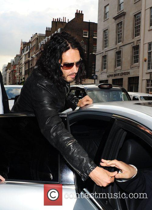 Russell Brand  leaves Claridges Hotel and heads...