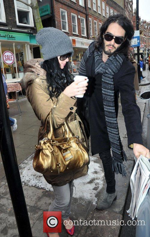Russell Brand and Katy Perry leave a coffee...