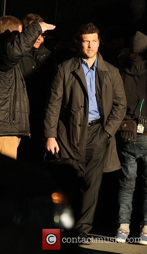 Sam Worthington  on the set of 'Man...