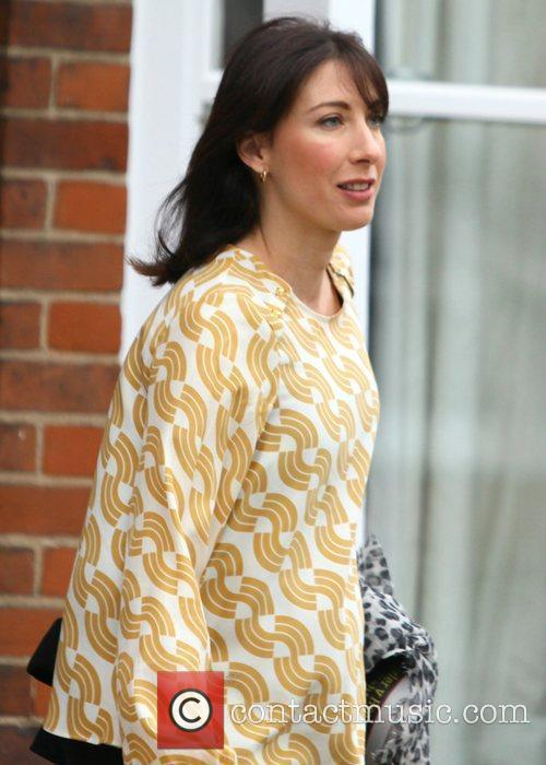 Samantha Cameron leaving her house this morning the...