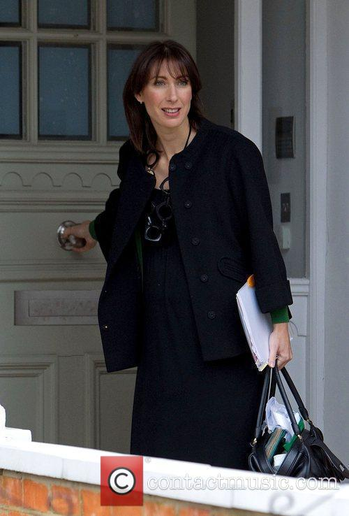 Samantha Cameron leaving home to go to work...