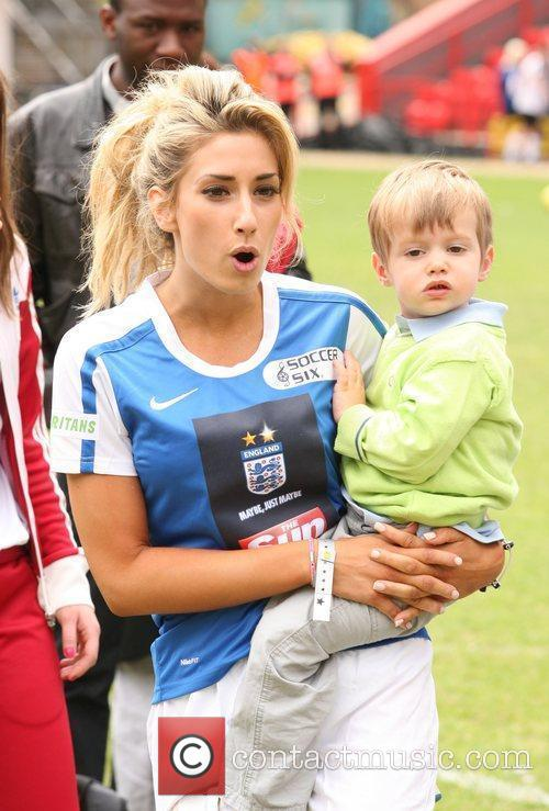 Stacey Solomon and child Celebrity Soccer Six 2010...