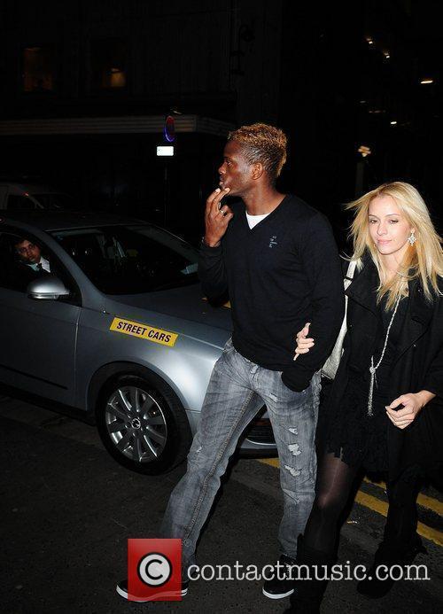 Louis Saha leaving San Carlo restaurant Manchester, England