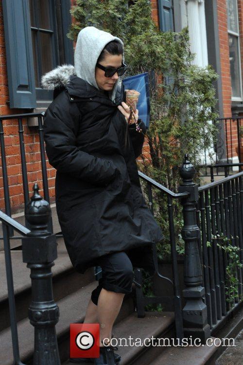 Sandra Bullock leaving her home in Manhattan, New...