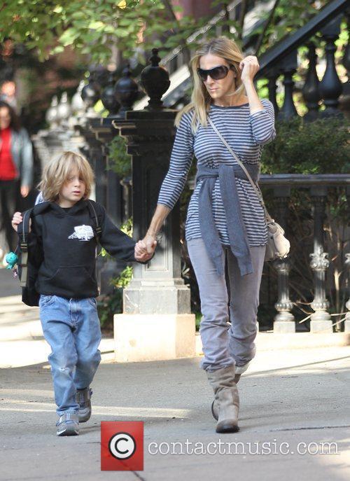 Sarah Jessica Parker walks with her son James...
