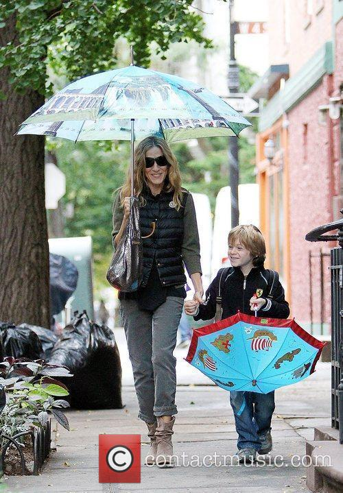 Sarah Jessica Parker walks with her son James...