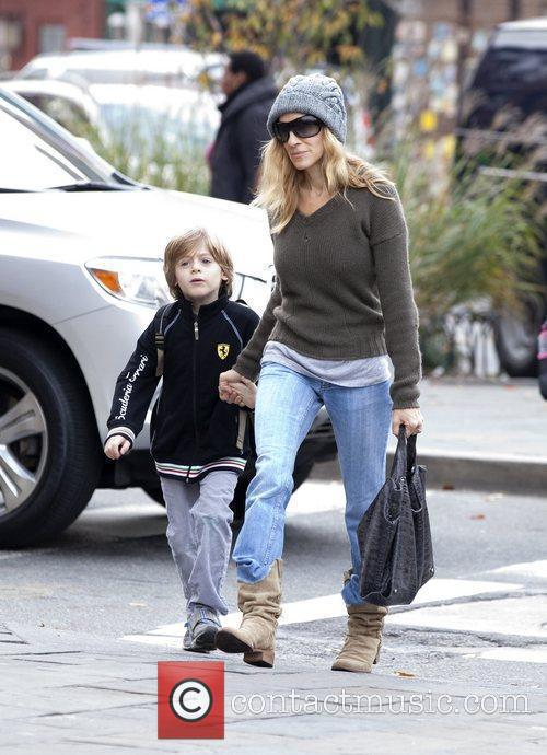 Sarah Jessica Parker walking with her son in...