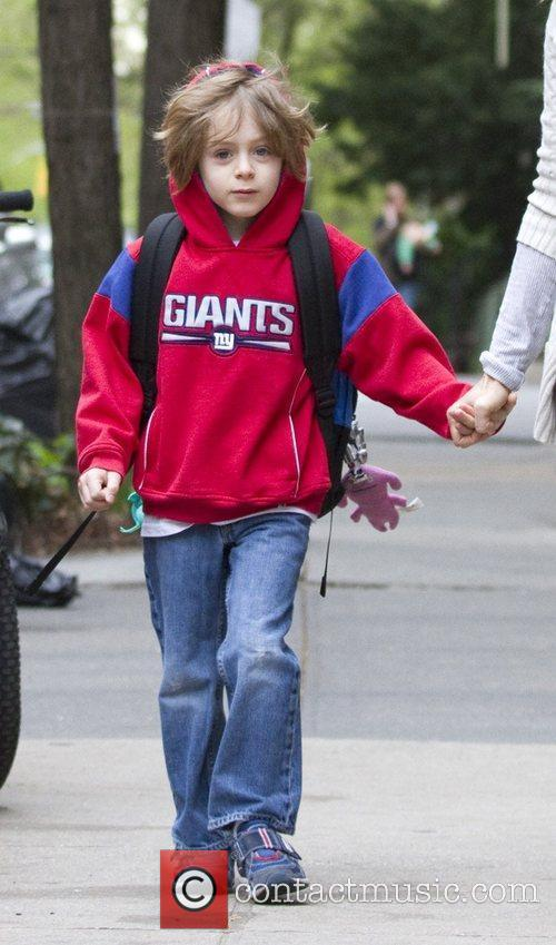 Sarah Jessica Parker walking her son in the...