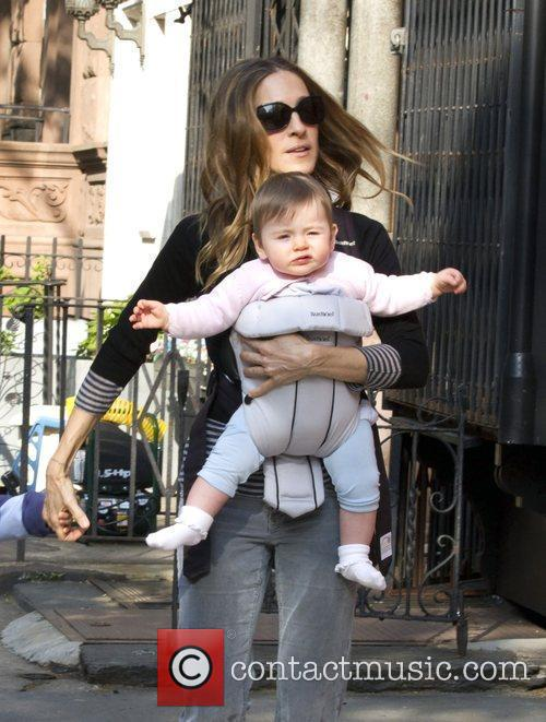 Sarah Jessica Parker walking her son and daughter...