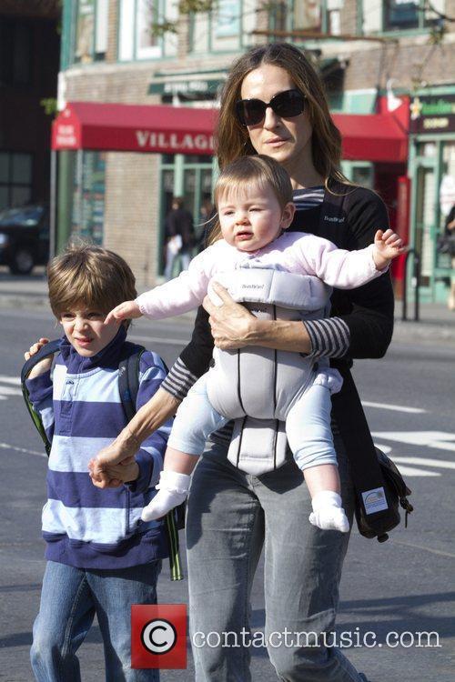 Sarah Jessica Parker walking her son James Wilkie...