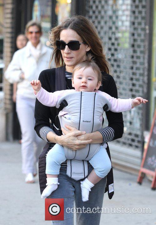 Sarah Jessica Parker walking her daughter Marion Broderick...
