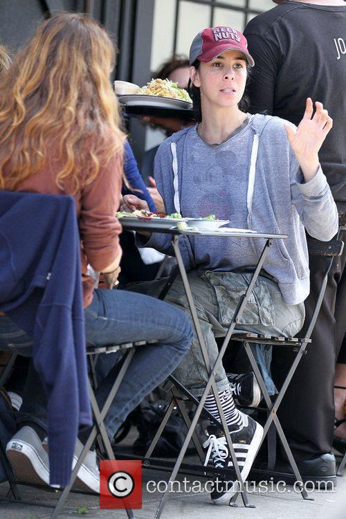 Sarah Silverman eating lunch with a friend at...