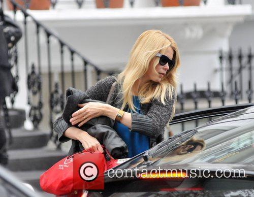 Claudia Schiffer dropping her children at school London,...