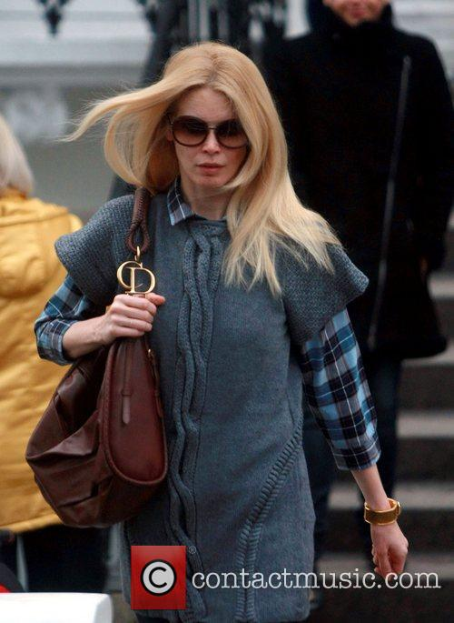 Claudia Schiffer after dropping her son at school...