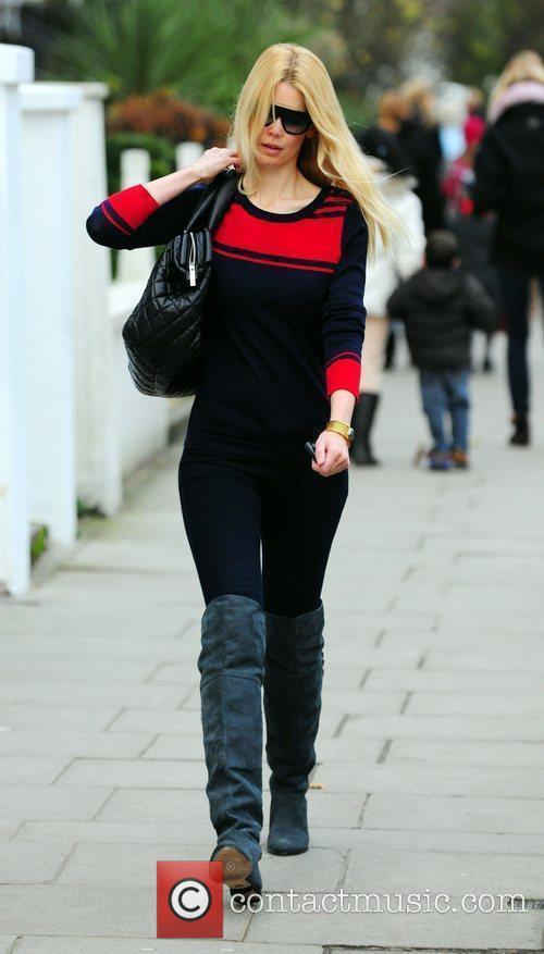 Claudia Schiffer drops her son at school London,...