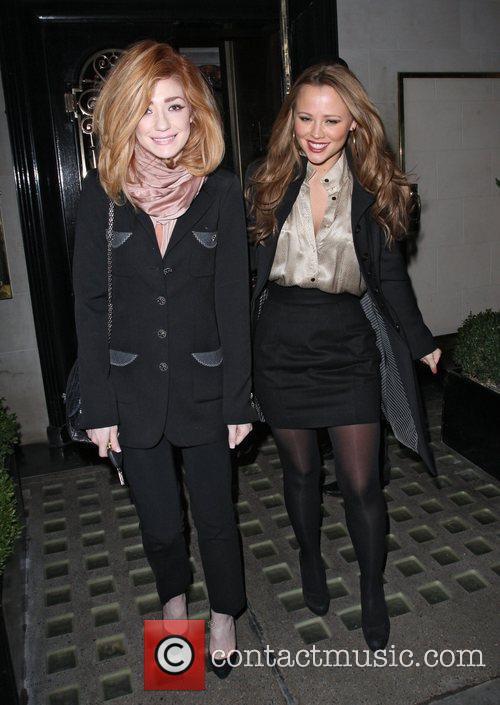 Nicola Roberts and Kimberley Walsh leaving Scotts restaurant....