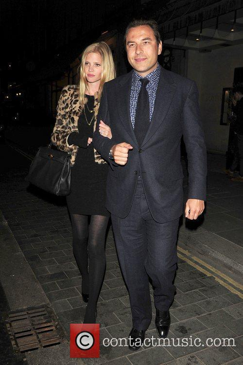 David Walliams and Lara Stone leaving Scotts restaurant