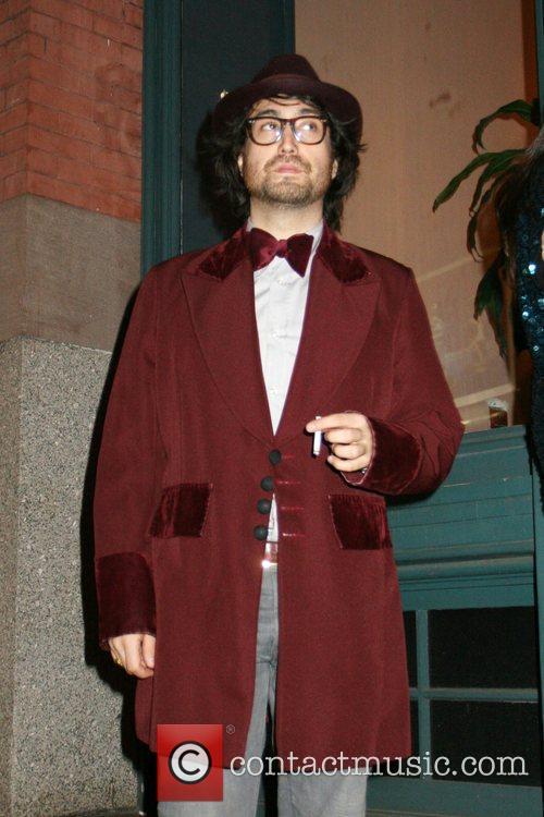 Sean Lennon enjoys a cigarette  outside the...