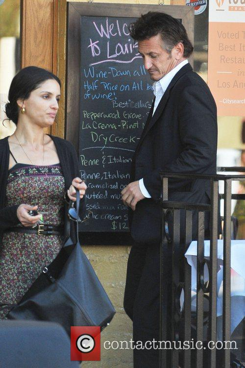 Sean Penn has lunch with a friend at...