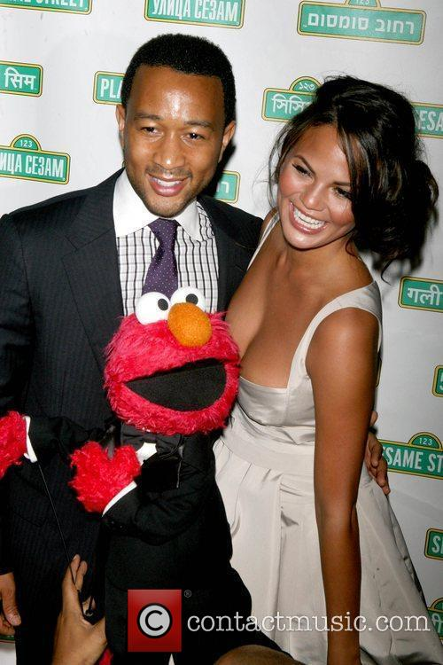 John Legend, Elmo and Christine Teigen 1