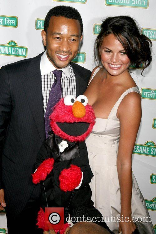John Legend, Elmo and Christine Teigen 2