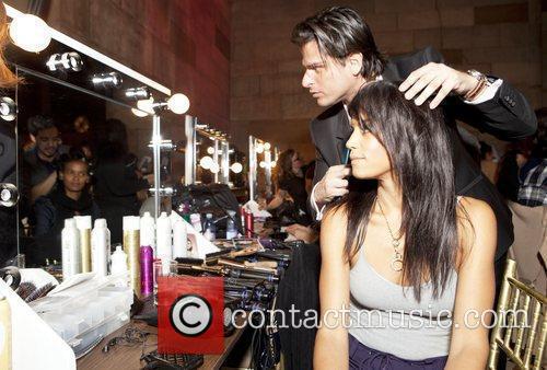 George Oritz and Veronice Webb backstage Seven Bar...