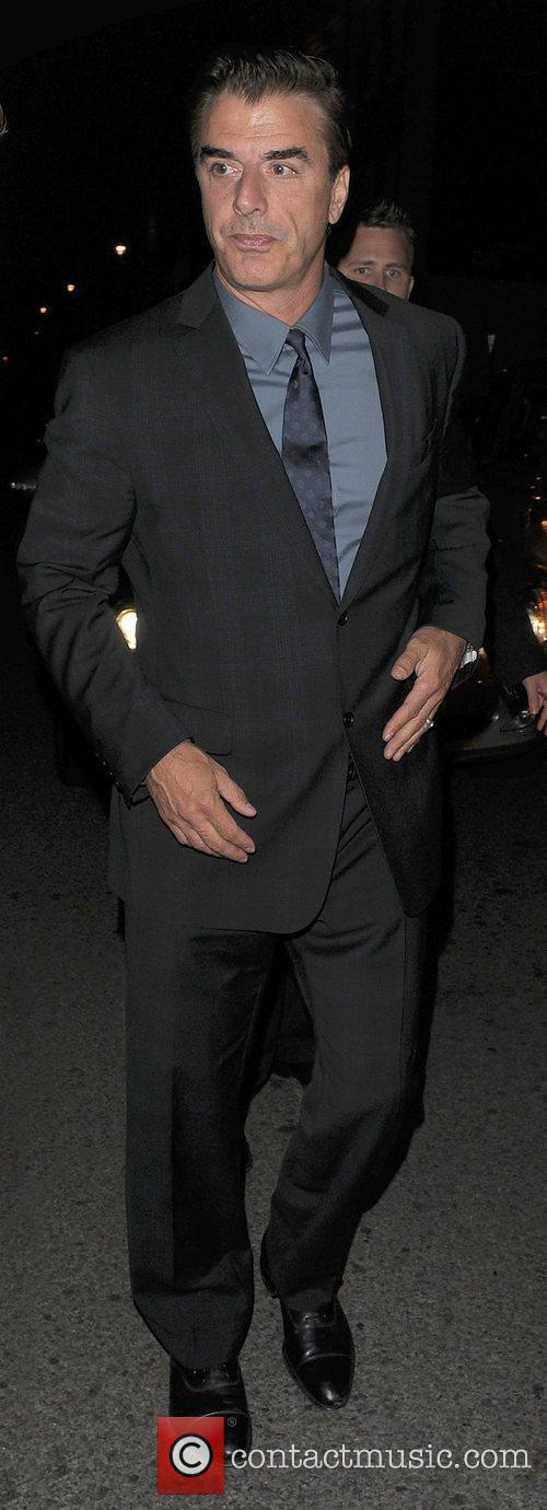 Chris Noth leaving his hotel, to go to...