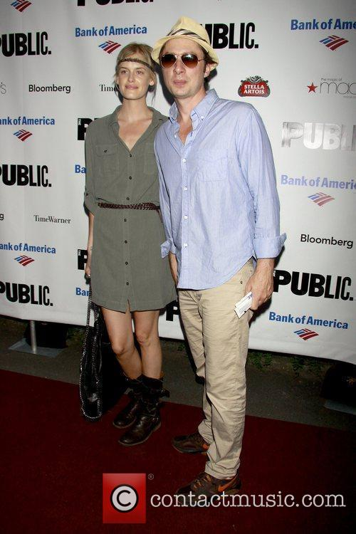 Taylor Bagley and Zach Braff The Public Theater's...