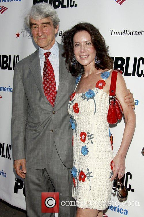 Sam Waterston poses with actress Lois Robbins...