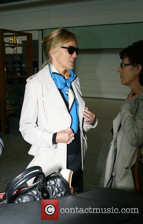 Sharon Stone arriving at Heathrow airport London, England