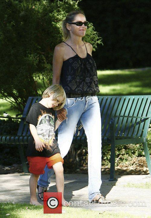 Sharon Stone and her son Laird out and...