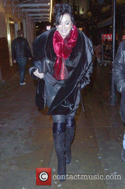 Nancy Dell'Olio arriving at J.Sheekey's restaurant London, England