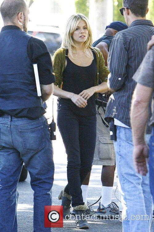 Sienna Miller filming on location in West Hollywood...