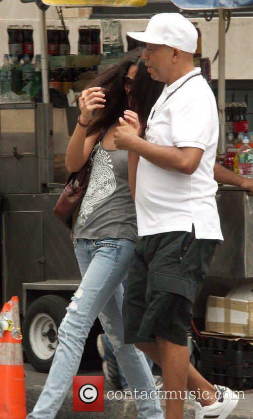 With his girlfriend in Soho