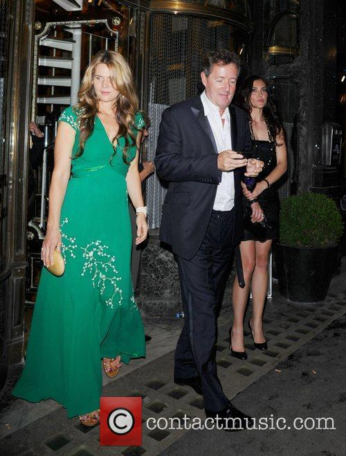Piers Morgan and Celia Walden leaving Mr Chows...