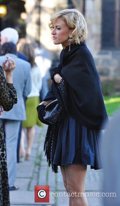 Arrives for the wedding of Simon Gregson and...